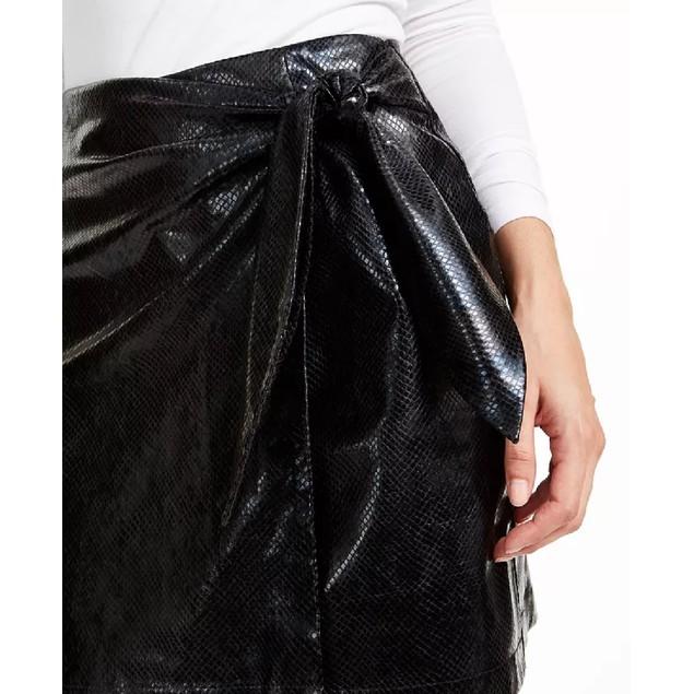 Leyden Women's Snake-Embossed Mini Skirt Black Size Medium