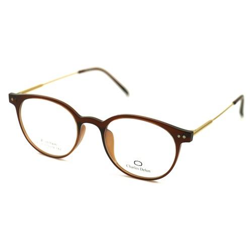 Eyeglasses Women Brown/Gold Full Rim Round 51 19 142 by Charles Delon