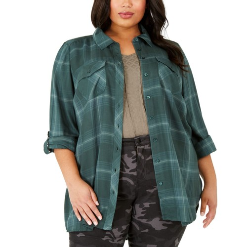 Style & Co Women's Plus Size Plaid Utility Shirt Green Size 2X