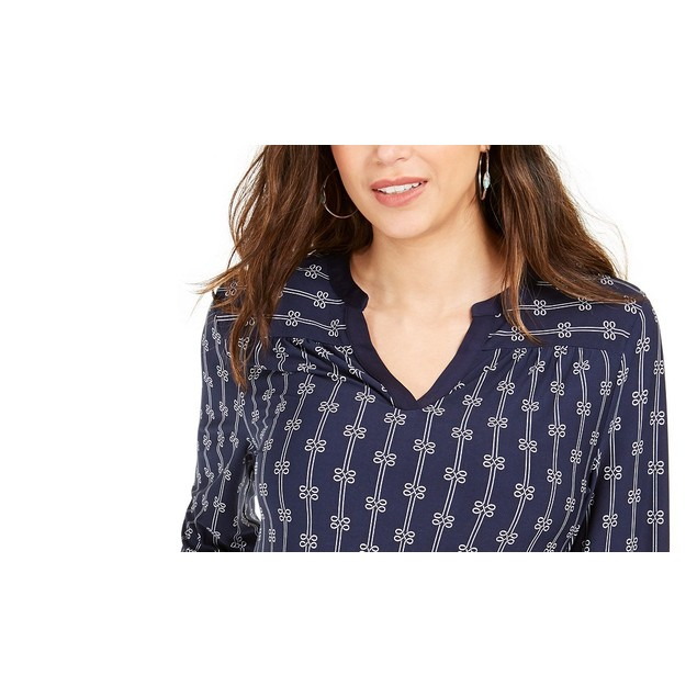 Charter Club Women's Petite Printed Split-Neck Top Blue Size Petite