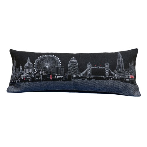 Spura Home London Skyline Embroidered Wool Cushion Day/Night Setting