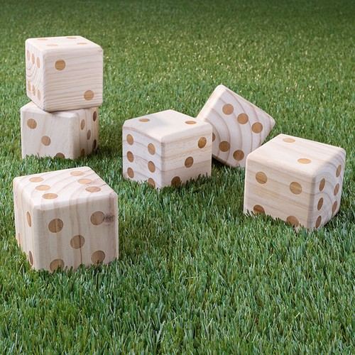 Giant Wooden Yard Dice Outdoor Lawn Game, 6 Playing Dice