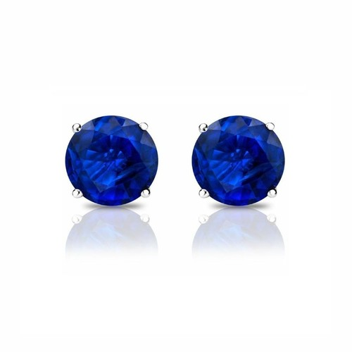 Sterling Silver Round 8mm Cubic Zirconia Blue Sapphire Stud Earrings.