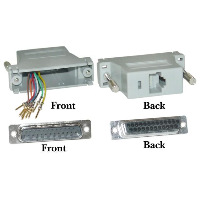 Modular Adapter, Gray, DB25 Male to RJ45