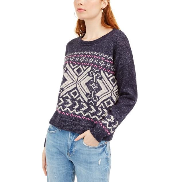 Hippie Rose Juniors' Fair Isle Sweater Dark Blue Size Small