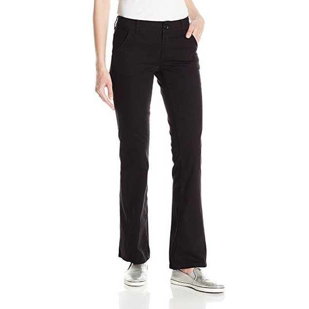 UNIONBAY Juniors Heather Slash Pocket Uniform Bootcut Pant, New Black,