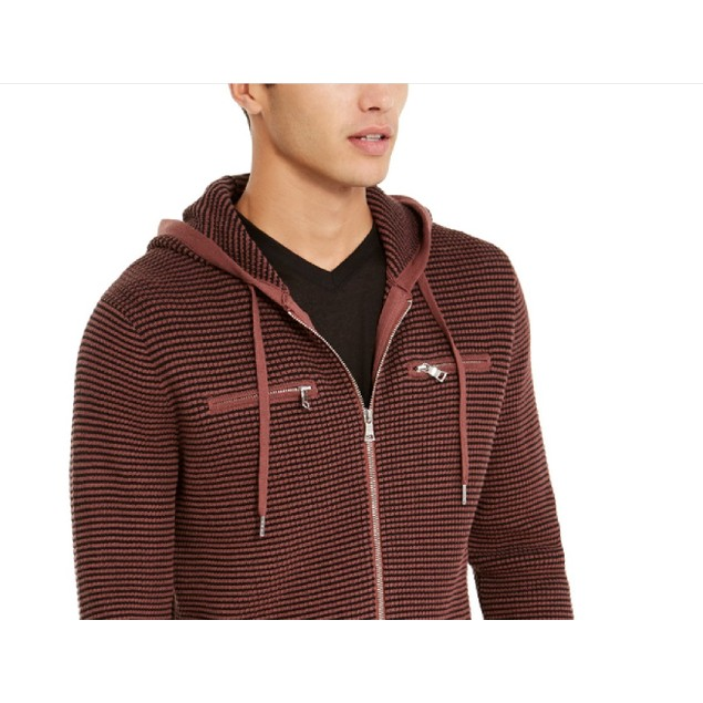 INC International Concepts Textured Zip-Front Hoodie Wine 3 Extra Large