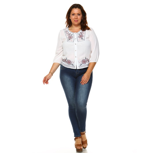 Plus Size Gladys  Embroidered Peasant Top
