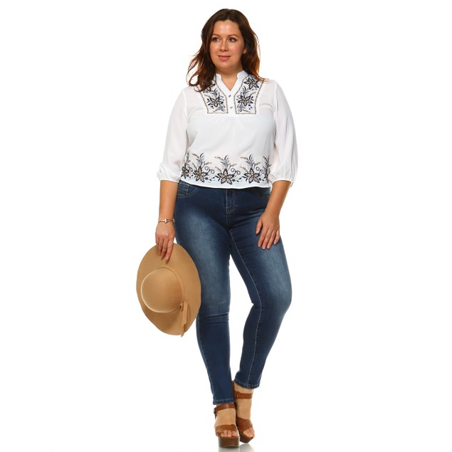 White Mark Universal Plus Size Esther Embroidered Peasant Top