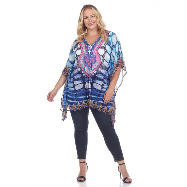 Animal Print Caftan with Tie-up Neckline - 6 Colors - Missy and Plus Sizes