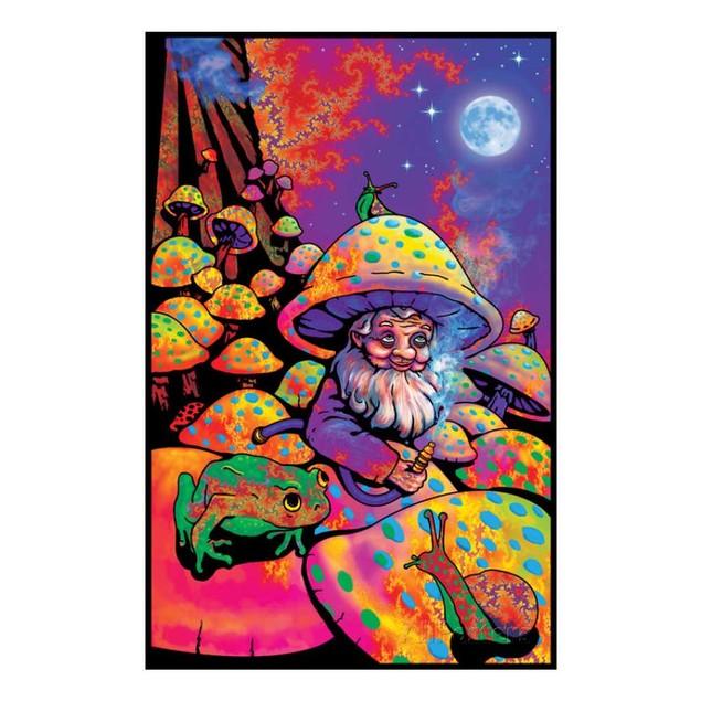 "Mushroom Man Blacklight Poster 24"" x 36"" Fantasy Shrooms Gnome Velvet"