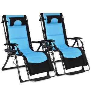 Costway 2PCS Outdoor Folding Padded Zero Gravity Oversized Recliner
