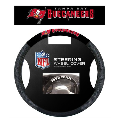 Tampa Bay Buccaneers Steering Wheel Cover NFL Football Team Logo Poly Mesh