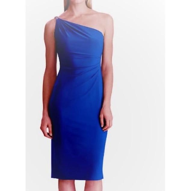 Ralph Lauren Women's Rhinestone Strap Jersey Dress Blue Size 16