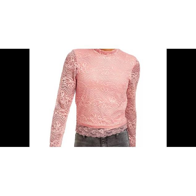 Crave Fame Juniors' Lace Mock-Neck Top Med Pink Size X-Large