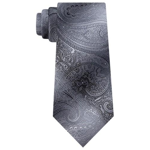 Van Heusen Men's Bryson Paisley Tie Gray Size Regular