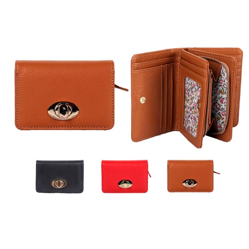 Compact 19 Pocket Organizer Leather RFID Buckle Wallet with Calico Inside