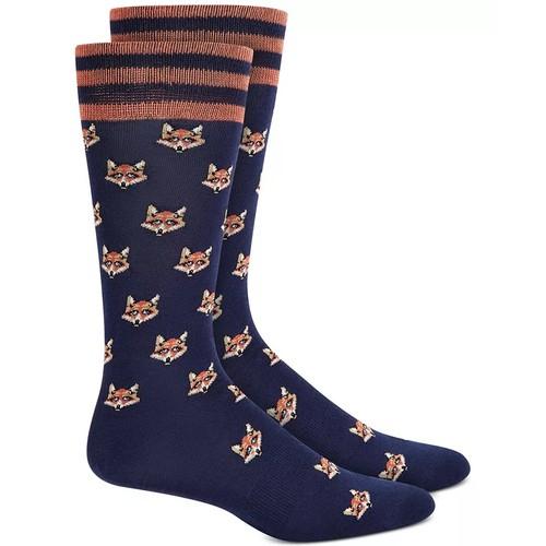 Bar III Men's Fox Socks Blue Size Regular