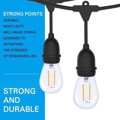 FT LED STRING LIGHTS OUTDOOR PATIO YARD COMMERCIAL GRADE WATERPROOF BULBS