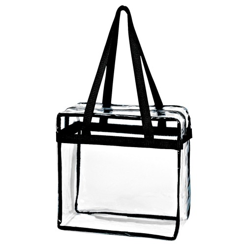 Crystal Clear Transparent PVC Plastic Women Tote Bag with Zippered Closure