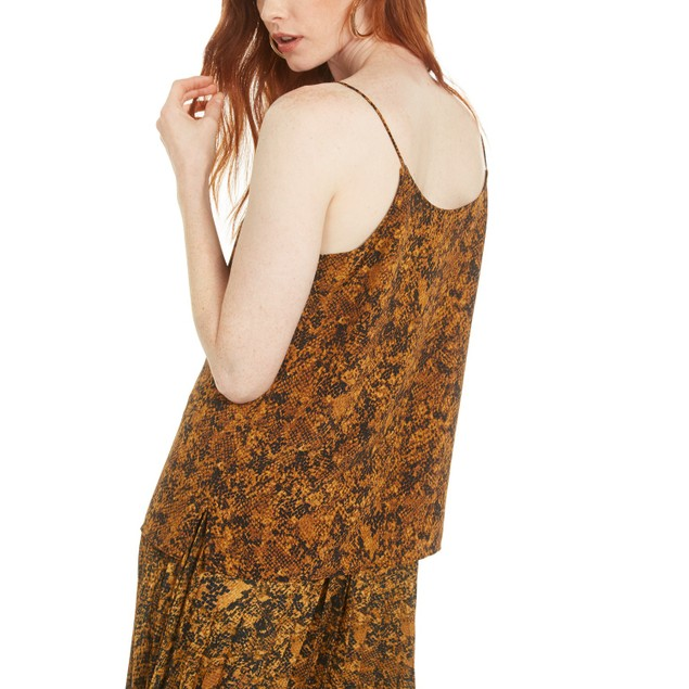 Bar III Women's Snake-Print Lace-Trim Top Med Yellow Size Small