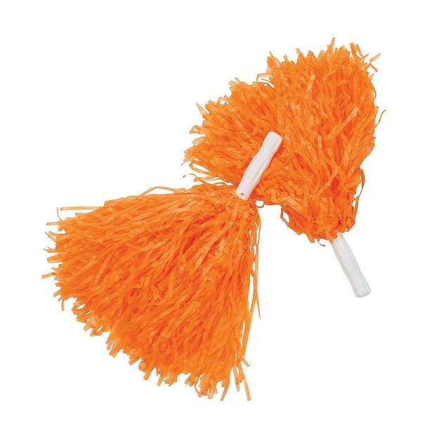 Orange Pom-Poms (Pair) Cheerleader Cheer Leader Squad Pep Costume Accessory