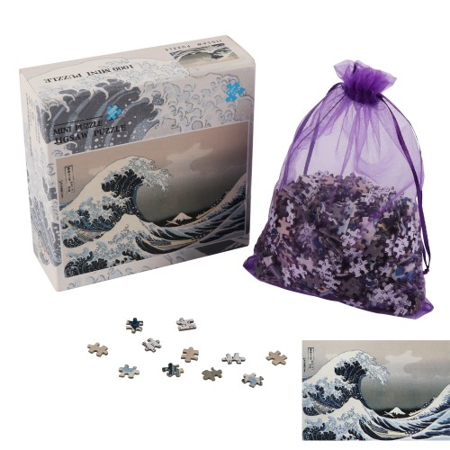 """BIGTREE Mini 10x15"""" Classic Puzzle 1000 Piece Micro Jigsaw Puzzle The Great Wave Art Painting Backside Clue"""