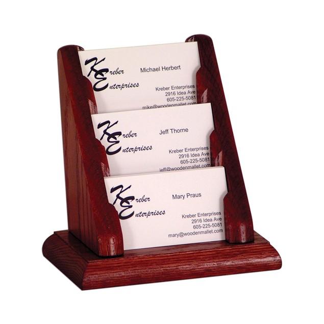 3 Pocket Countertop Business Card Holder Mahogany
