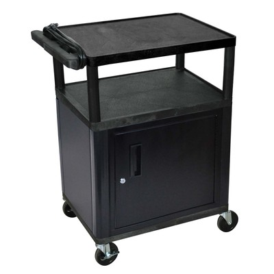 "Luxor 34"" Three Flat Shelves AV Electric Cart with Cabinet - Black"