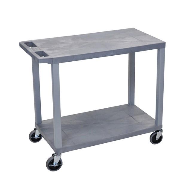 "Luxor 32"" x 18"" Two Flat Shelves Utility Cart - Gray"