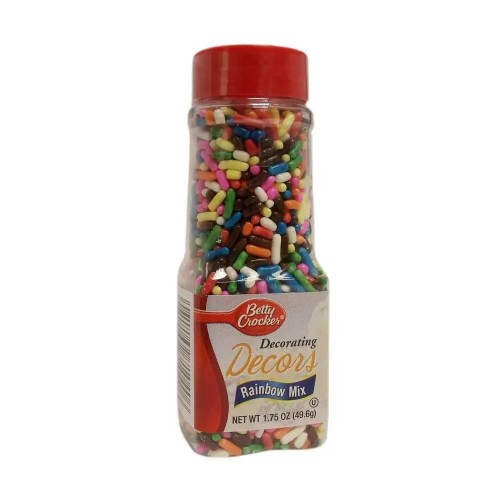 Betty Crocker Decorating Decors Toppings Sprinkles, Rainbow Mix, 1.75 Ounce