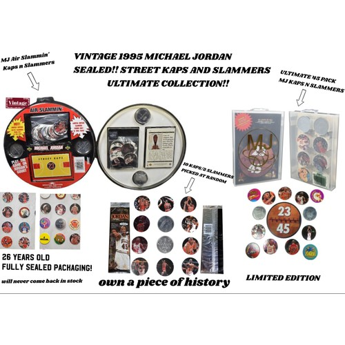 The Ultimate Collection of 1995 Michael Jordan Caps N' Slammers  (Features 3 Sealed Packages)