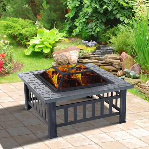 """32"""" Outside Yard Metal Square Patio Fire Pit w/ Heat Basin and Saftey Mesh"""