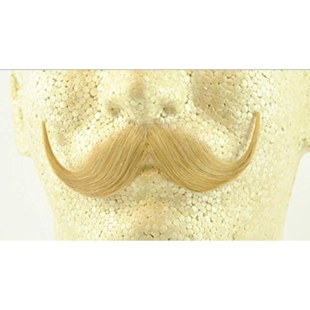 Blonde Handlebar Moustache 100% Human Hair Handle Bar Costume Accessory