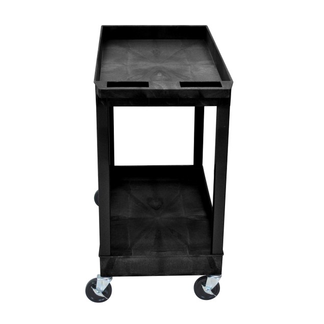 "Luxor 32"" x 18"" Two Tub Shelves Utility Cart - Black, 10 Pack"