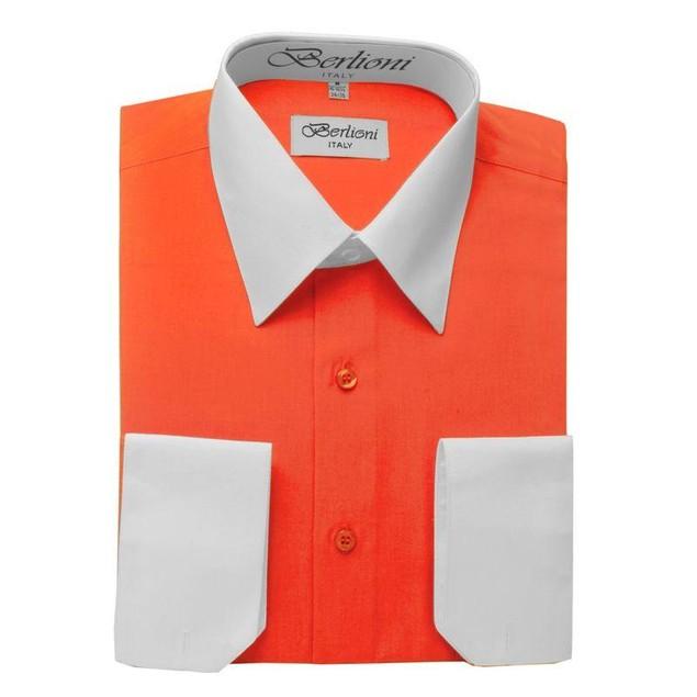 Mens Two-Tone Dress Shirt Orange / White Dress Shirt N506