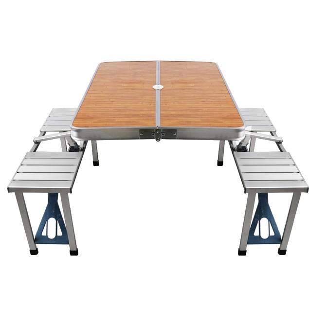BIGTREE Picnic Table Folding Portable Aluminum Picnic Camping Table 4 Seats Bamboo