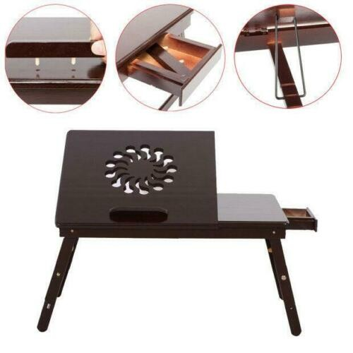 Portable Folding Laptop Desk Bamboo Breakfast Serving Tray Bed Table