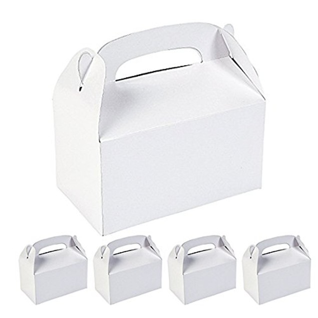 12 Assorted White Color Cardboard Favor Boxes Treat Goody Bags Children