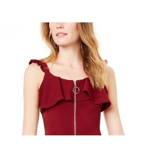 Almost Famous Women's Ruffled Zip-Front Dress Wine Size Extra Small