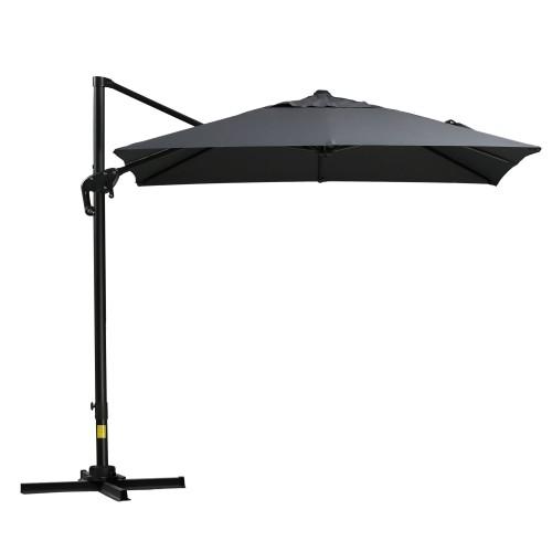 8x8ft Square Patio Offset Cantilever Umbrella 360° Rotation w/ Cross Gray