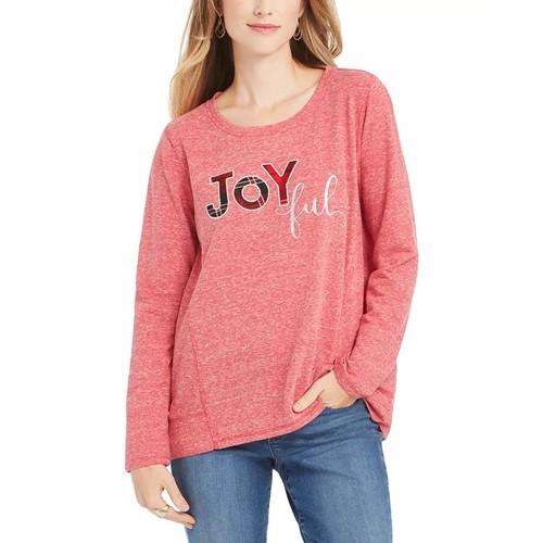 Style & Co Women's Joyful Graphic Sweatshirt Red Size X-Large