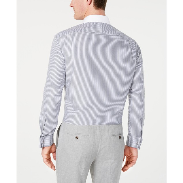Tasso Elba Men's Supima Cotton Twill Bar Stripe French Cuff Gray Size 34X35