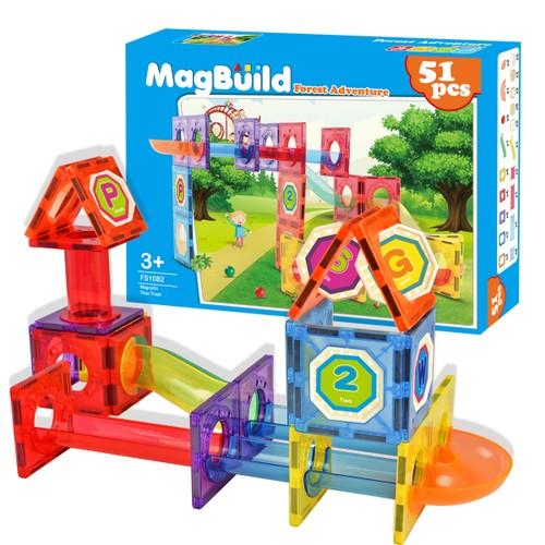 Zunammy Kids Magnetic Building Blocks Tile Forest Adventure Set (51-Piece)