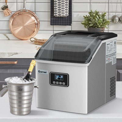 Costway 48 LB Stainless Steel Self Cleaning Ice Maker