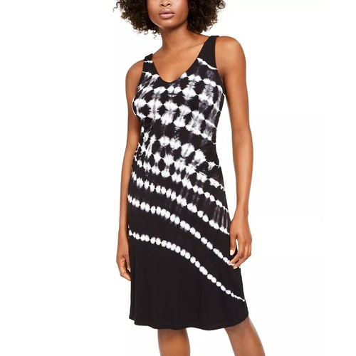 INC International Concepts Women's Tie-Dye Sleeveless Dress Black Size XS