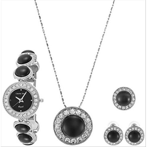 Charles Delon Women Watches 4574 LPBB Silver/Black/Silver Stainless Steel Quartz