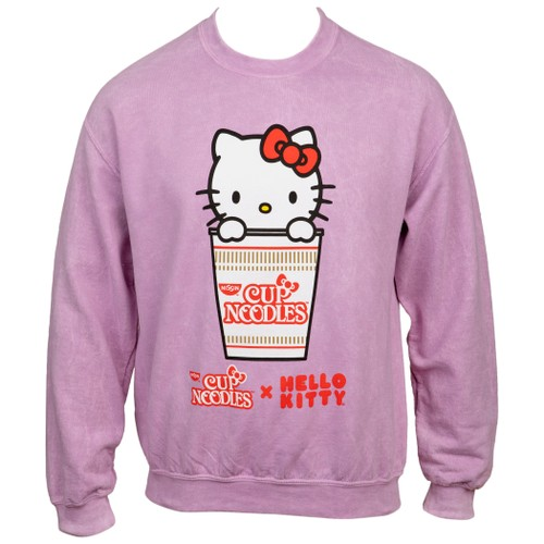 Hello Kitty x Cup Noodles Character Pink Mineral Wash Sweatshirt