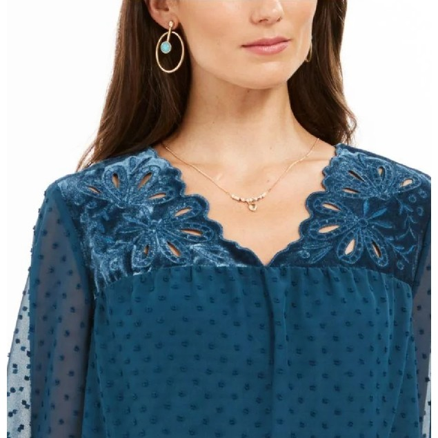 Style & Co Women's Mixed-Media Sheer-Sleeve Blouse Blue Size Small