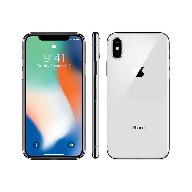 Apple iPhone X, AT&T, Grade B+, Silver, 64 GB, 5.8 in Screen